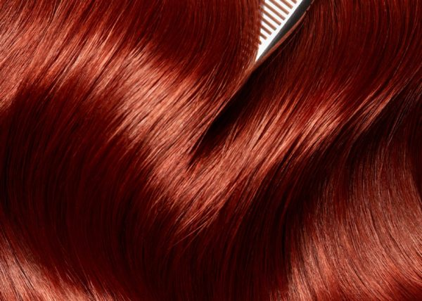 Hair closeup red, high end hair retouching