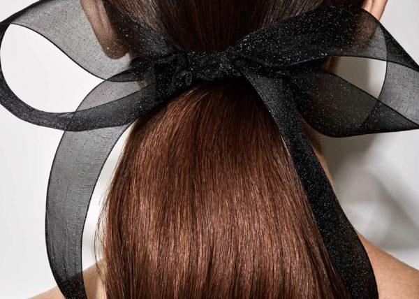 Long low pony + hair ribbon