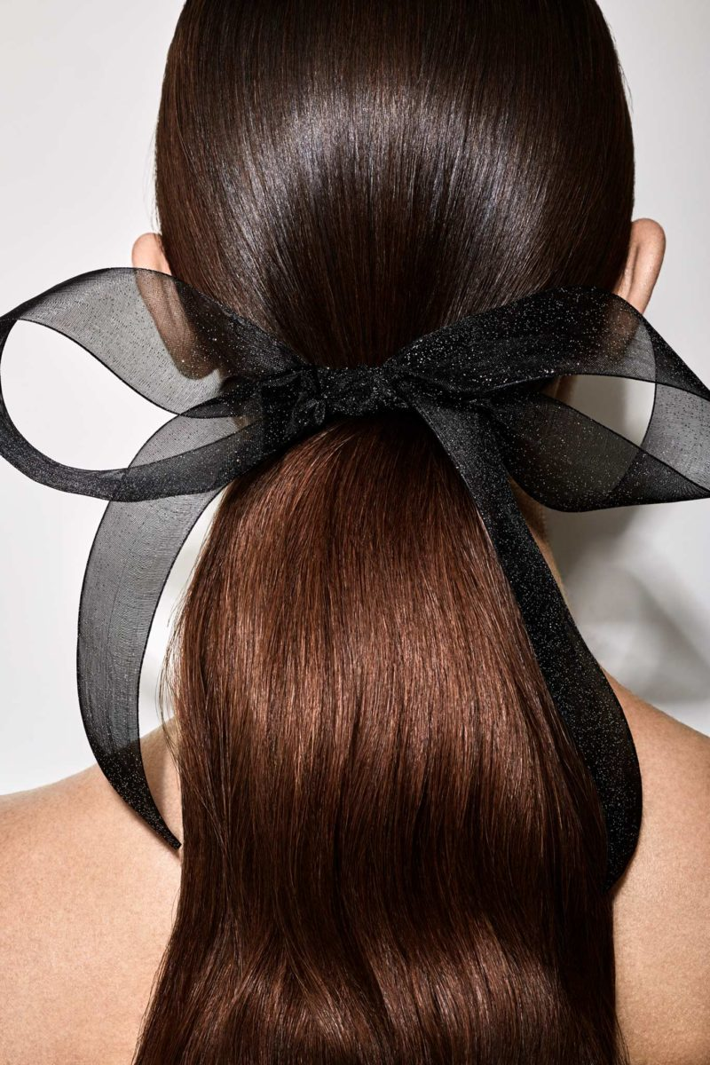 Long low pony + hair ribbon