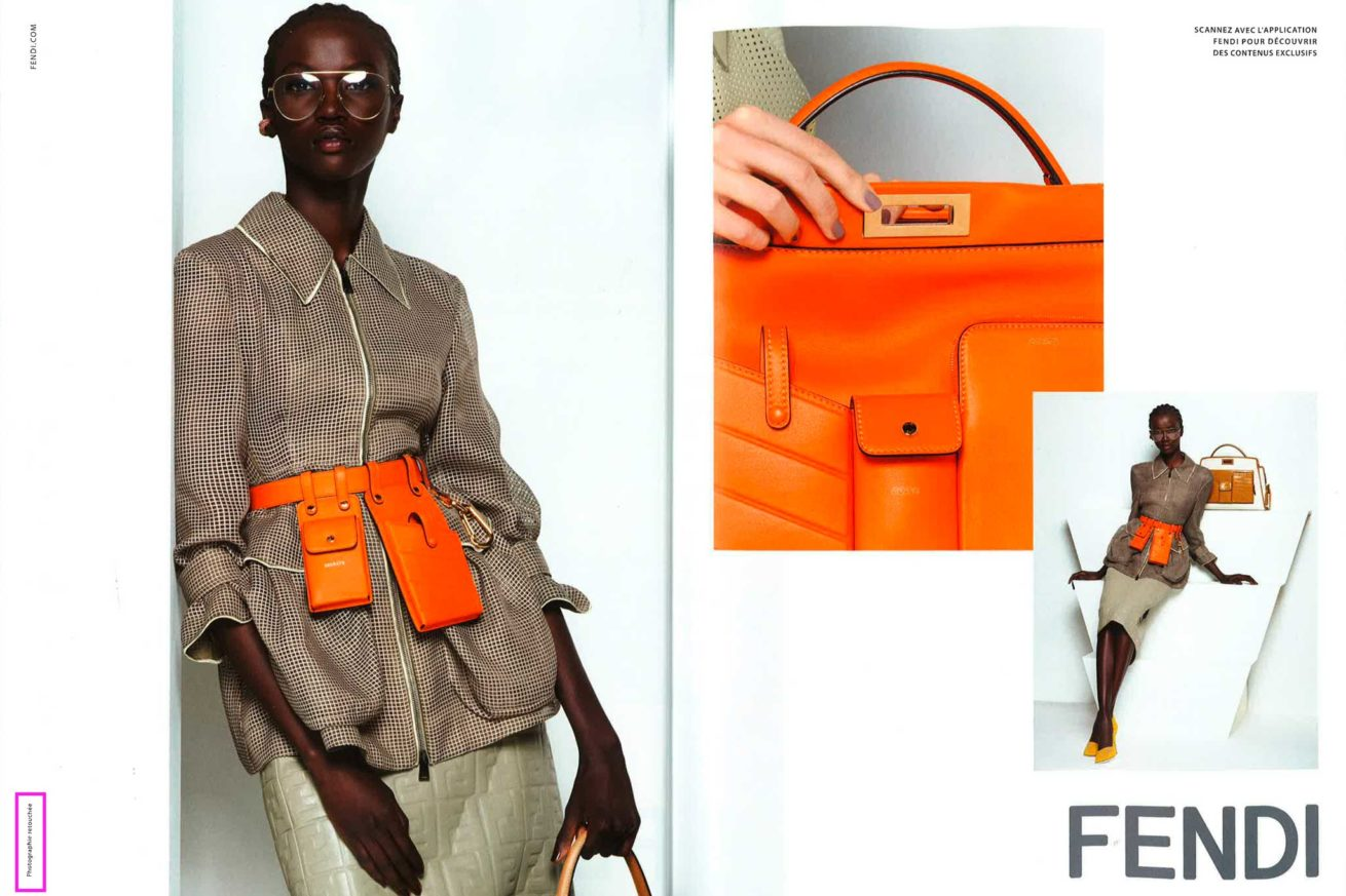 Magazine page (Fendi advertising) with retouching lable