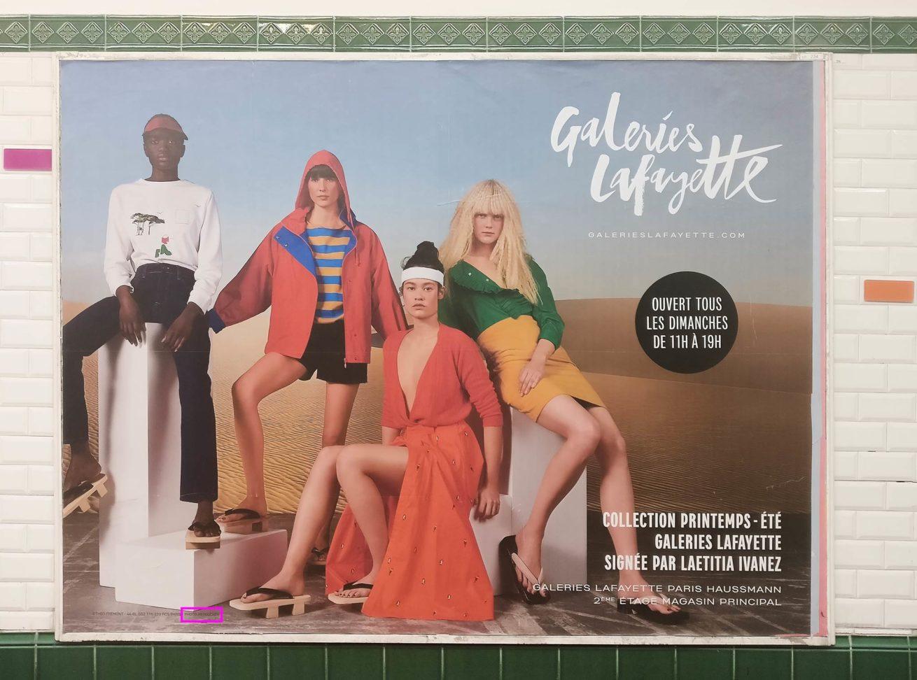 Metro station advertising with retouching lable for Galeries Lafayette - Printemps - Été Collection Paris